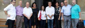 Da esquerda para direita: J.F Braunstein (Maison Auguste Comte), Bertrand R. Muller (SU), Ângelo Oswaldo (Ibram), Mariana Várzea e Lucienne Figueiredo (SMU), Alexandre Martins (IPB), Vera Mangas (Ibram), Luciano Cavalcanti (Ateliê Belmonte), Luiz Edmundo Costa Leite (Associação Amigos do Templo da Humanidade) e Marcos Veneu (FCRB)