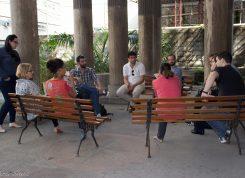 Reunião com a equipe de especialistas envolvidos na candidatura da Igreja Positivista do Brasil ao Programa Memória do Mundo, da Unesco, no pórtico do Templo da Humanidade.