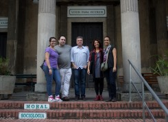 Equipe do Museu da República em visita ao Templo da Humanidade: Paloma Calvano, André Ângulo e Valeria Gauz. Crédito: Chris Souza